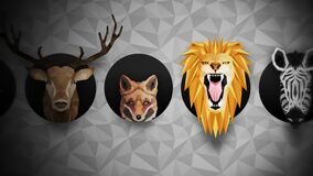 Collection of different animals. Zoo symbol. Low polygon icons. Lion, Gorilla, Zebra, Raccoon, Fox, Elephant, Deer, Owl. Geometric