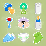 Collection of different Baby icons Royalty Free Stock Photos