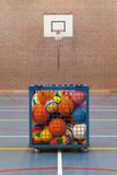Collection of different balls in a metal cage. School gym Royalty Free Stock Photos