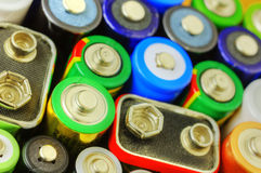 Collection of different batteries Royalty Free Stock Image