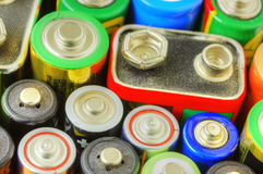 Collection of different batteries Royalty Free Stock Photos