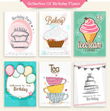Collection of different birthday flyers. Stock Image