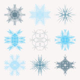 Collection of different blue snowflakes isolated on white background. Winter Frozen Geometric Symbol.  vector illustration