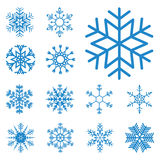 Collection of different blue snowflakes Stock Photography