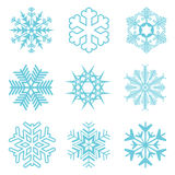 Collection of different blue snowflakes Royalty Free Stock Photos