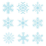 Collection of different blue snowflakes Royalty Free Stock Images
