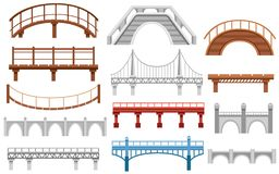 Collection of different bridges. City architecture flat icon. Vector illustration isolated on white background.  stock illustration