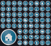 Collection of different buttons. Colored collection of web icons vector illustration