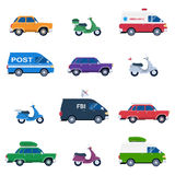 Collection of different cars like ambulance and post minivan. Fbi automobile and classic family sedan, motorcycles or gas minibikes assortment for traveling Stock Images
