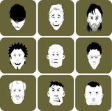 Collection of different cartoon men or male faces. Royalty Free Stock Photography
