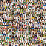 Collection of different caucasian women and men ranging from 18 Royalty Free Stock Images