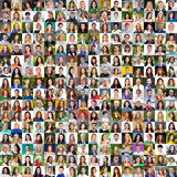Collection of different caucasian women and men ranging from 18 Stock Photo