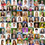 Collection of different caucasian women and men ranging from 18. To 50 years Royalty Free Stock Images