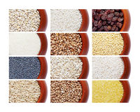 Collection of different cereals in pots. Isolated white background Royalty Free Stock Photos