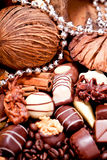 Collection of different chocolate pralines truffels Stock Photo