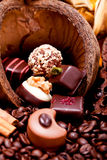 Collection of different chocolate pralines truffels Royalty Free Stock Photography