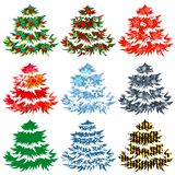 Collection of different Christmas trees Royalty Free Stock Image