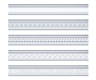 Collection of different classical cornices isolated on white. 3d rendering stock illustration
