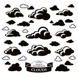 Collection of different cloud icons Stock Images
