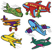 Collection different color airplanes Royalty Free Stock Photography