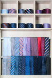 Collection of different color ties on a show-window Stock Photography