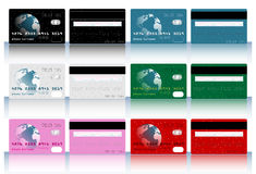 Collection of different colored credit cards for b. Anks royalty free illustration