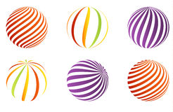 Collection of 6 different 3D balls. Set of 6 different 3D balls made of ribbons Stock Images