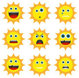 Collection of 9 different emoticons in sun shape Royalty Free Stock Photo