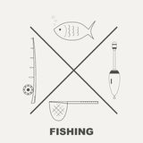 Collection of different fishing gear made in modern line style . Collection of different fishing gear made in line style Stock Photos