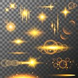 Collection of different flare light effects. Lens flares, rays, stars and sparkles with bokeh collection. Vector. Collection of different yellow flare light Royalty Free Stock Photography