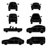 Collection of different flat cars in black and white style vector illustration