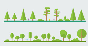Collection of different flat trees vector illustration