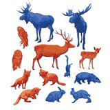 Collection of different forest animals isolated on white background. Vector illustration drawn with rough brush in contrast colors royalty free illustration