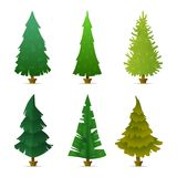 Collection of different forms, shapes of firs, spruce and pines. Christmas tree set.. Flat design Stock Photos
