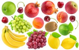 Collection of different fruits and berries isolated on white background. With clipping path Royalty Free Stock Photos