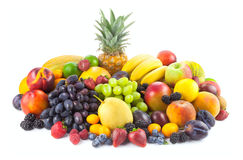Collection of different fruits  on white Stock Images