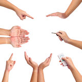 Collection of different gesture of hands Royalty Free Stock Image