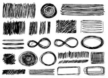 Set of different vector elements in doodle style stock illustration