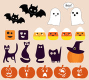 Collection of different halloween icons. Royalty Free Stock Photos