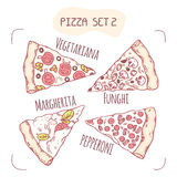Collection of different hand drawn pizza slices Vector Illustration