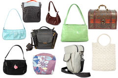 collection of  different handbags Royalty Free Stock Images