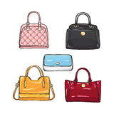 Collection of Different Handbags for Women. Collection of different illustrations with handbags for women. Various shape, size and colour. Pink, black, yellow Royalty Free Stock Images