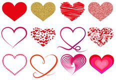 Collection of different heart symbols Royalty Free Stock Images
