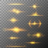 Collection of different horizontal flare light effects. Lens flares, rays, stars and sparkles with bokeh collection. Collection of different horizontal yellow Stock Photography