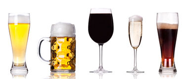 Collection of different images of alcohol. On a white background Stock Images