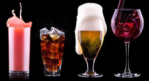 Collection of different images alcohol isolated. On a black background Royalty Free Stock Image