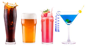 Collection of different images alcohol isolated royalty free stock photography