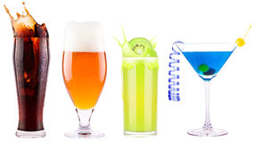 Collection of different images alcohol isolated Stock Photography