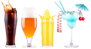 Collection of different images alcohol isolated Stock Image