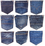 Collection of different jeans pocket isolated on white. Collection of different jeans pocket isolated on white royalty free stock image